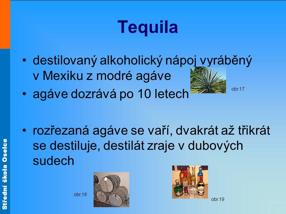Tequila destilovaný alkoholický nápoj vyráběný v Mexiku z modré agáve