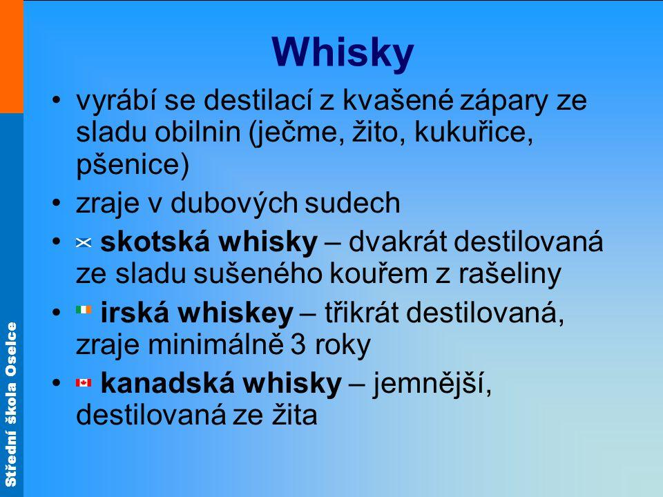 Whisky vyrábí se destilací z kvašené zápary ze sladu obilnin (ječme, žito, kukuřice, pšenice) zraje v dubových sudech.