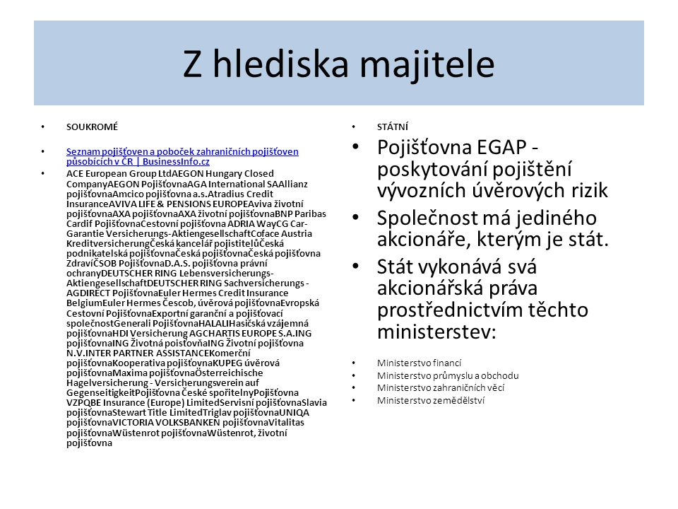 Z hlediska majitele SOUKROMÉ. Seznam pojišťoven a poboček zahraničních pojišťoven působících v ČR | BusinessInfo.cz.