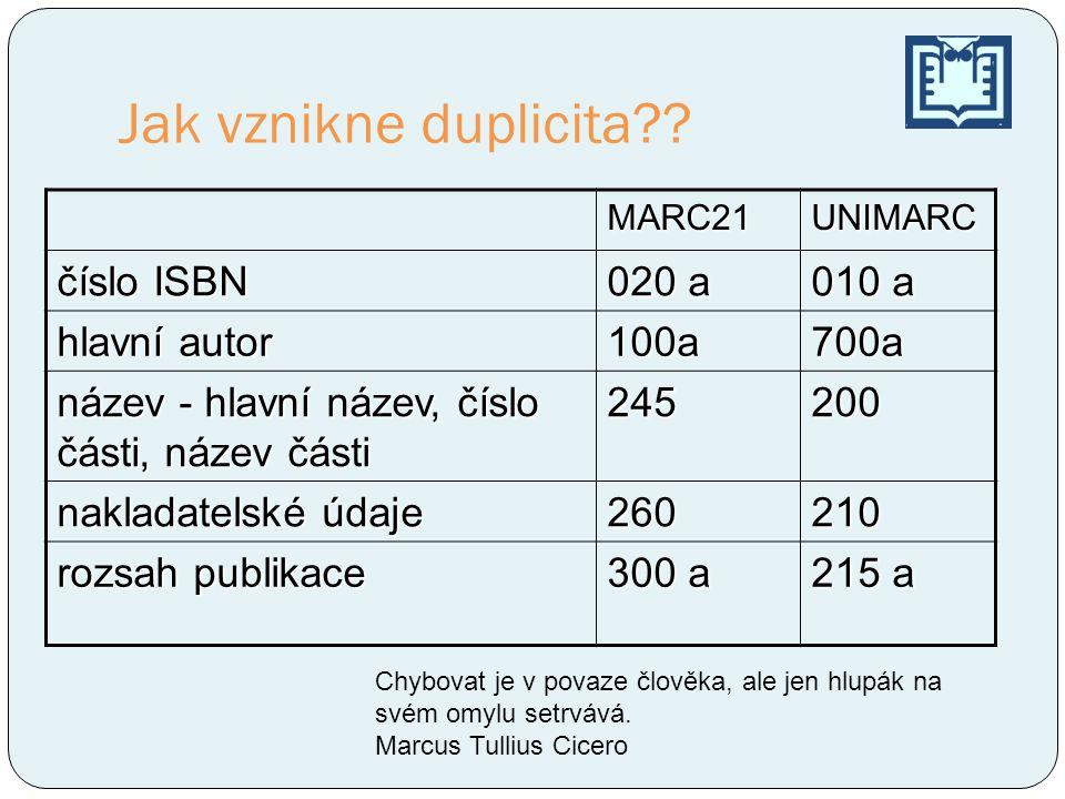 Jak vznikne duplicita číslo ISBN 020 a 010 a hlavní autor 100a 700a