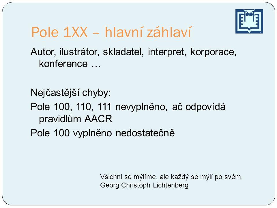 Pole 1XX – hlavní záhlaví