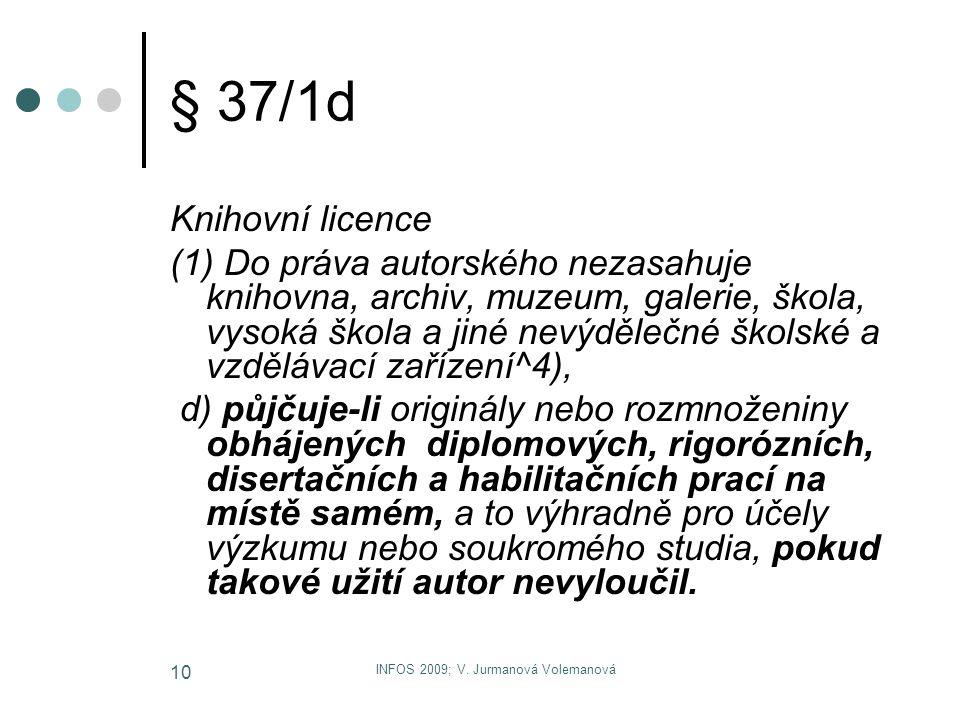 INFOS 2009; V. Jurmanová Volemanová