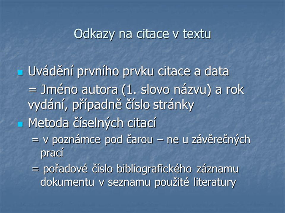 Odkazy na citace v textu