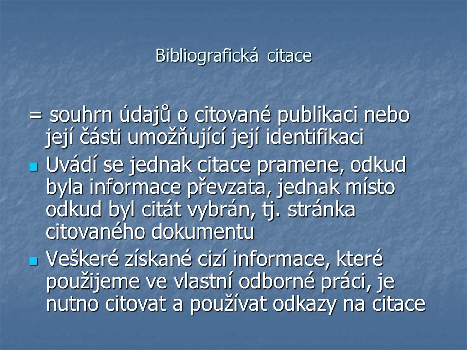 Bibliografická citace