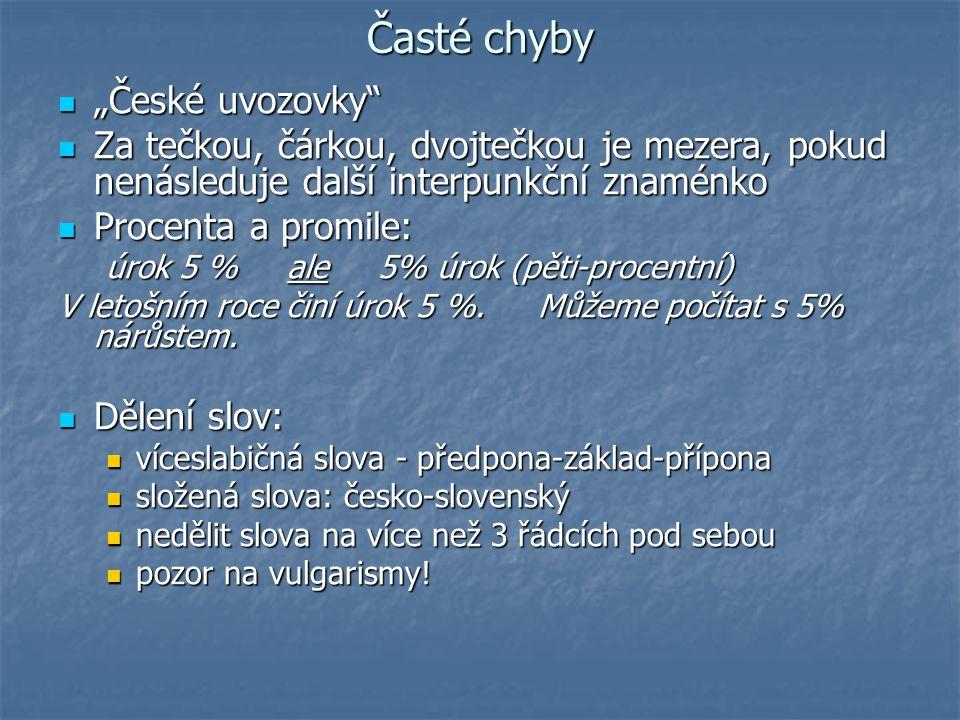 """Časté chyby """"České uvozovky"""
