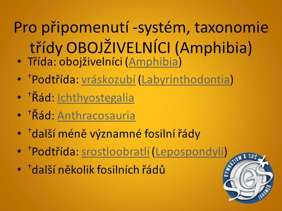 Pro připomenutí -systém, taxonomie třídy OBOJŽIVELNÍCI (Amphibia)