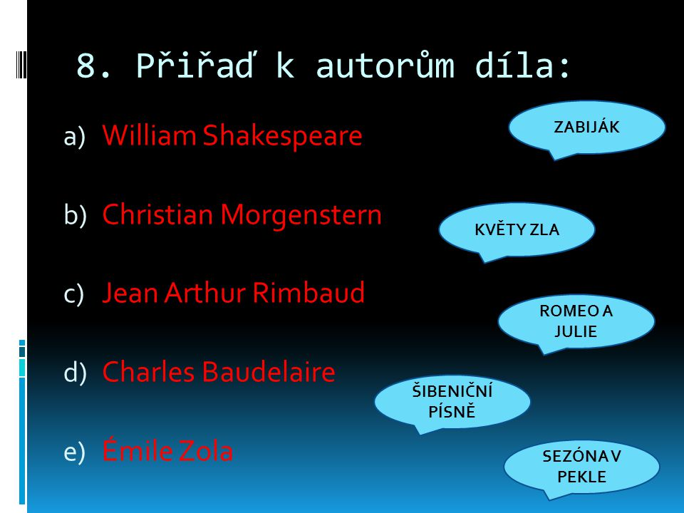 8. Přiřaď k autorům díla: William Shakespeare Christian Morgenstern