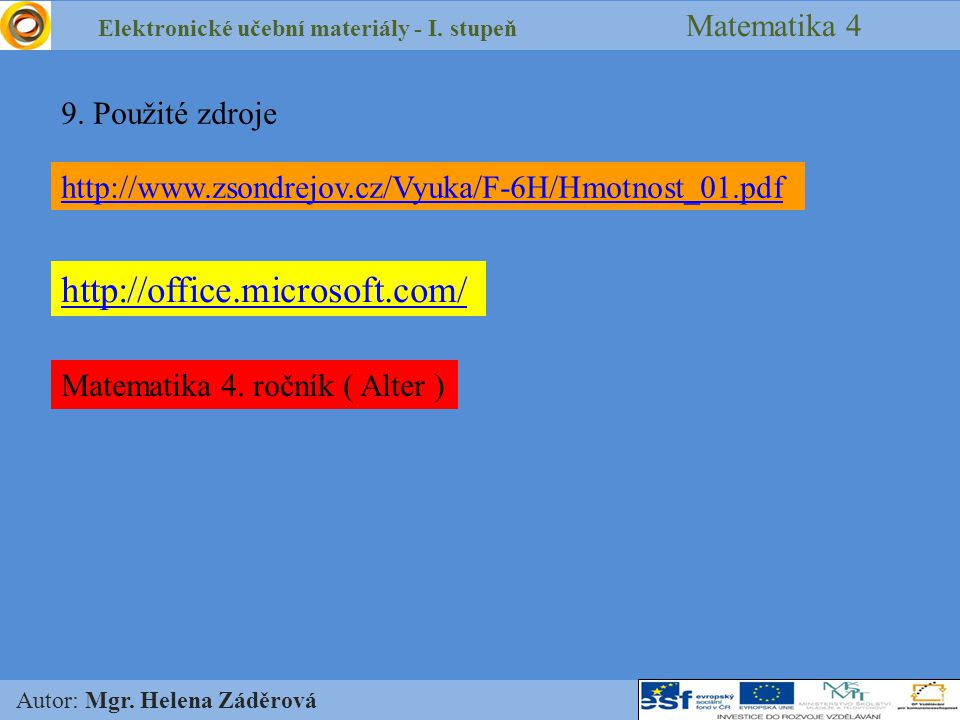 Elektronické učební materiály - I. stupeň Matematika 4