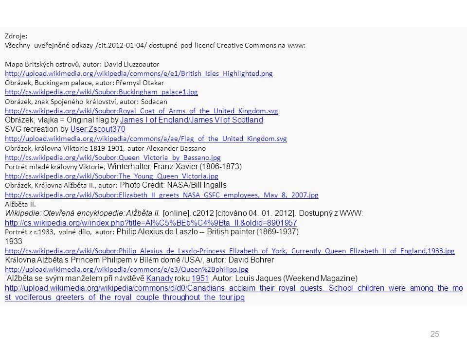 Zdroje: Všechny uveřejněné odkazy /cit.2012-01-04/ dostupné pod licencí Creative Commons na www: Mapa Britských ostrovů, autor: David Liuzzoautor.