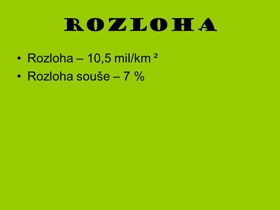 Rozloha Rozloha – 10,5 mil/km ² Rozloha souše – 7 %