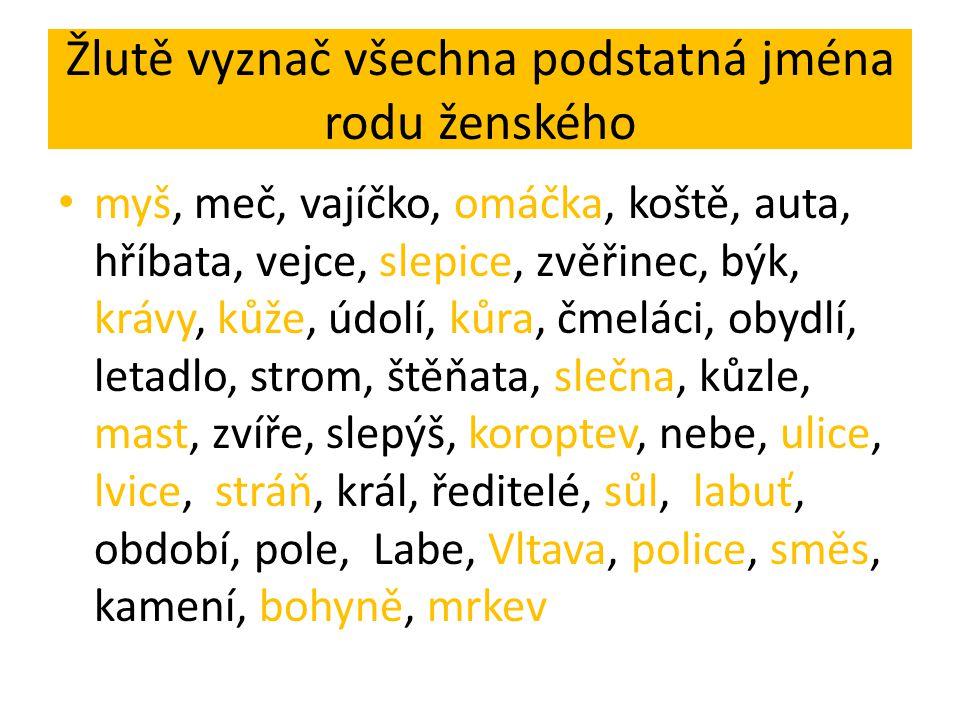 Žlutě vyznač všechna podstatná jména rodu ženského