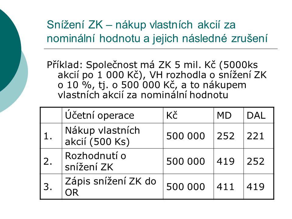Snížení ZK – nákup vlastních akcií za nominální hodnotu a jejich následné zrušení
