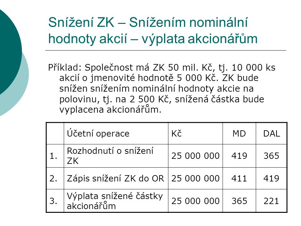 Snížení ZK – Snížením nominální hodnoty akcií – výplata akcionářům