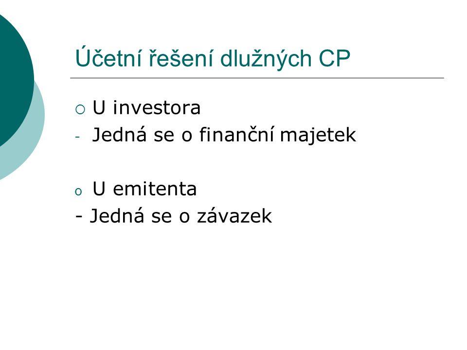 Účetní řešení dlužných CP