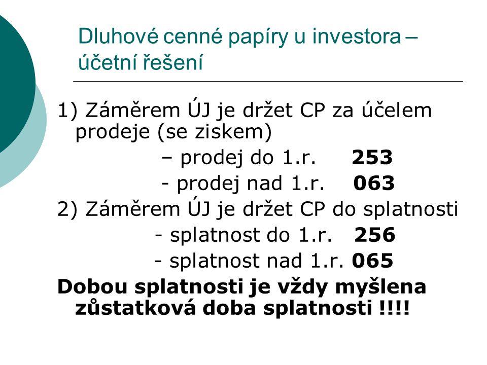 Dluhové cenné papíry u investora – účetní řešení