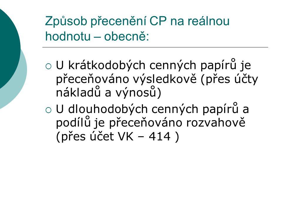 Způsob přecenění CP na reálnou hodnotu – obecně: