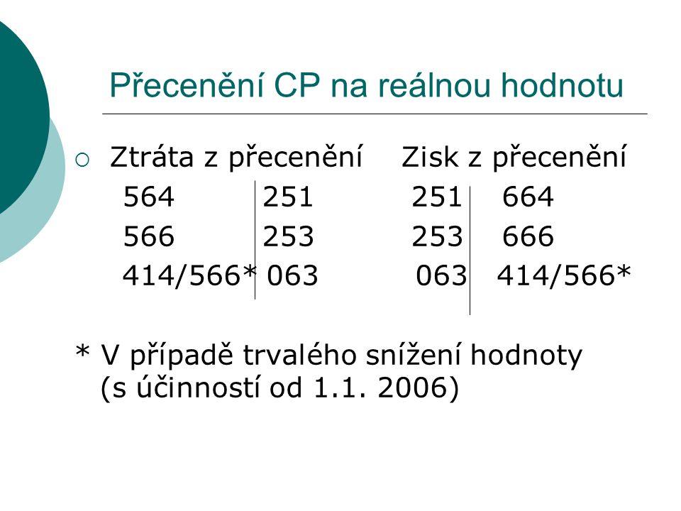 Přecenění CP na reálnou hodnotu