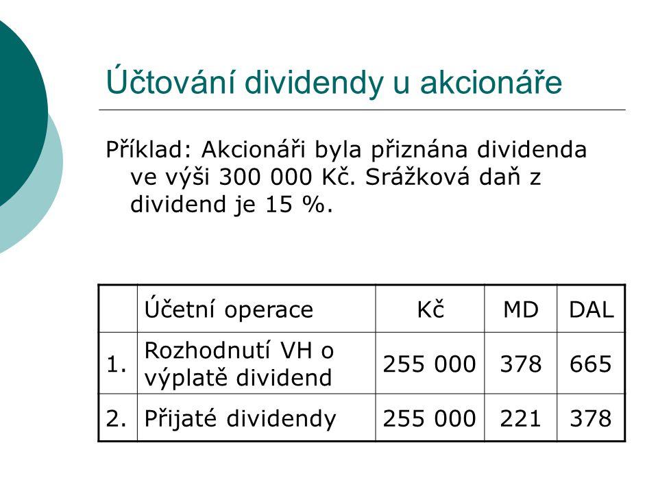 Účtování dividendy u akcionáře
