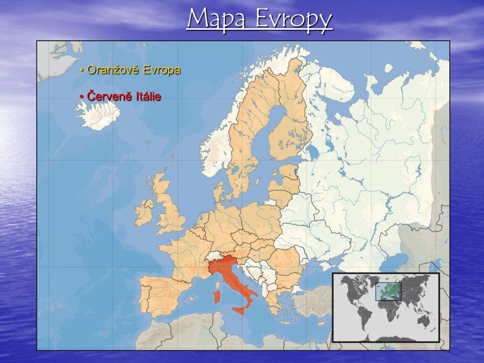 Mapa Evropy • Oranžově Evropa • Červeně Itálie