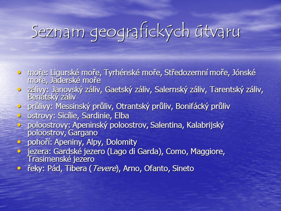 Seznam geografických útvaru