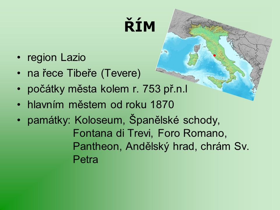 ŘÍM region Lazio na řece Tibeře (Tevere)