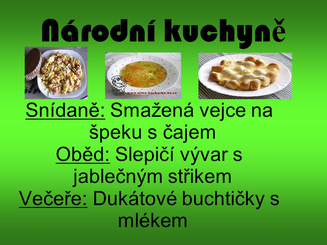 Národní kuchyně Snídaně: Smažená vejce na špeku s čajem