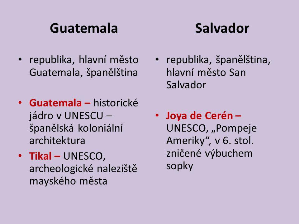 Guatemala Salvador republika, hlavní město Guatemala, španělština