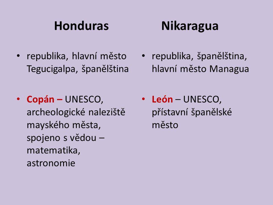 Honduras Nikaragua republika, hlavní město Tegucigalpa, španělština
