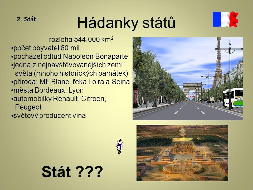 Hádanky států Stát rozloha 544.000 km2 počet obyvatel 60 mil.