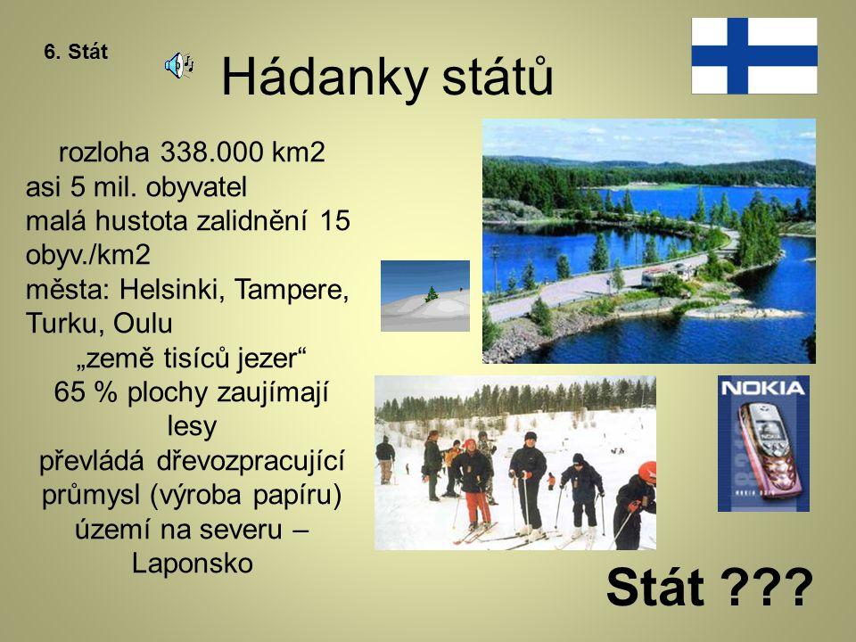 Hádanky států Stát rozloha 338.000 km2 asi 5 mil. obyvatel