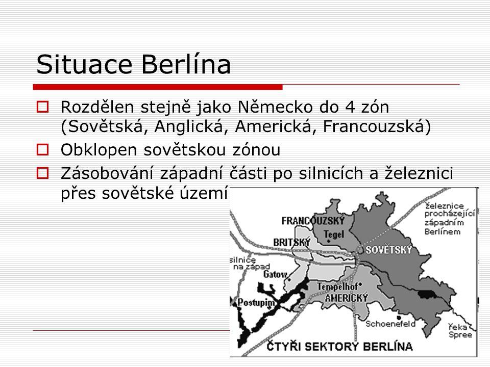 Situace Berlína Rozdělen stejně jako Německo do 4 zón (Sovětská, Anglická, Americká, Francouzská) Obklopen sovětskou zónou.