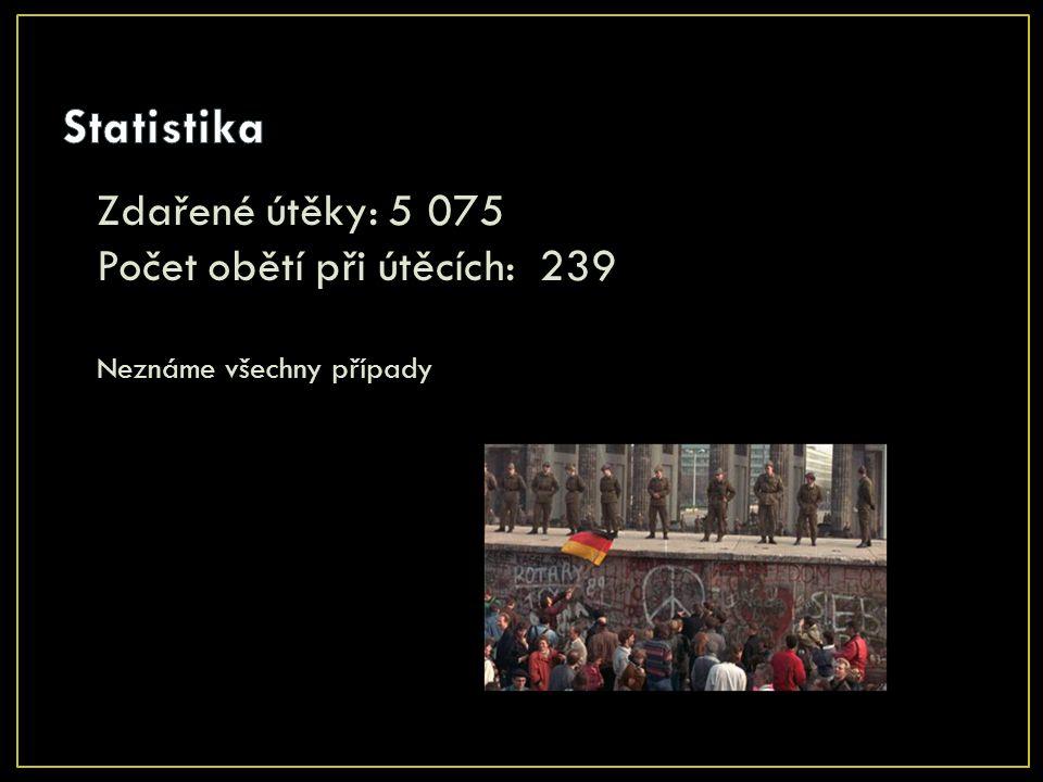 Statistika Zdařené útěky: 5 075 Počet obětí při útěcích: 239