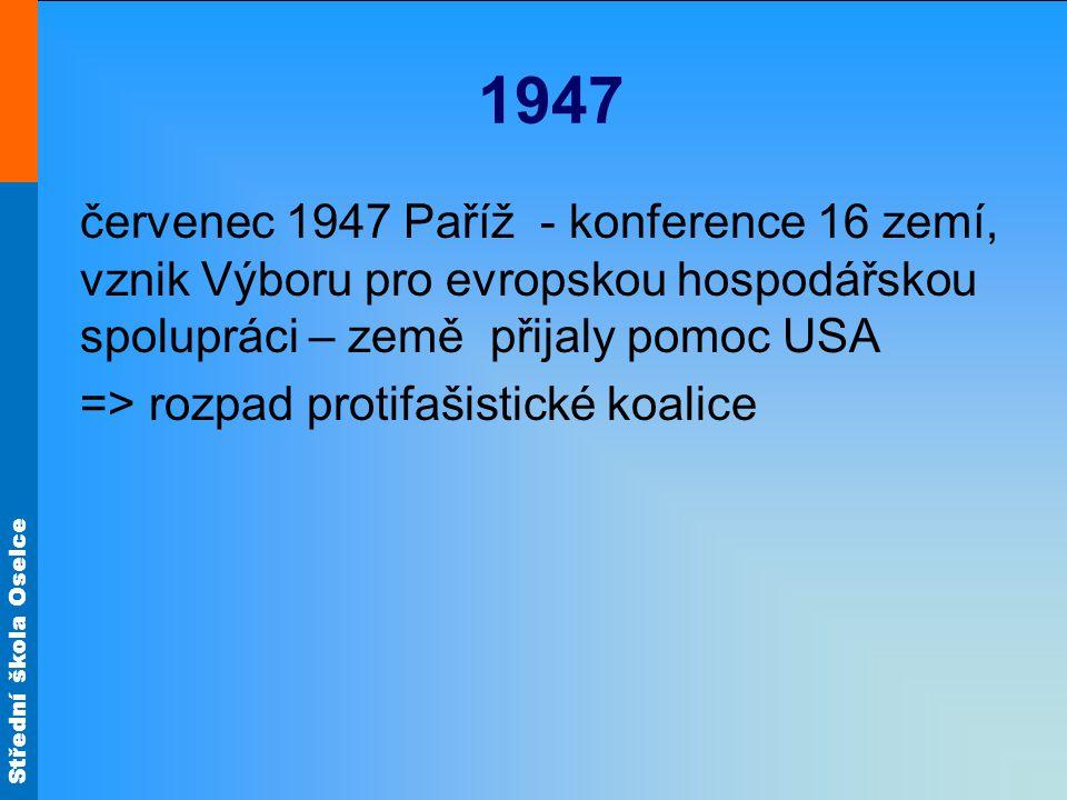 1947 červenec 1947 Paříž - konference 16 zemí, vznik Výboru pro evropskou hospodářskou spolupráci – země přijaly pomoc USA.