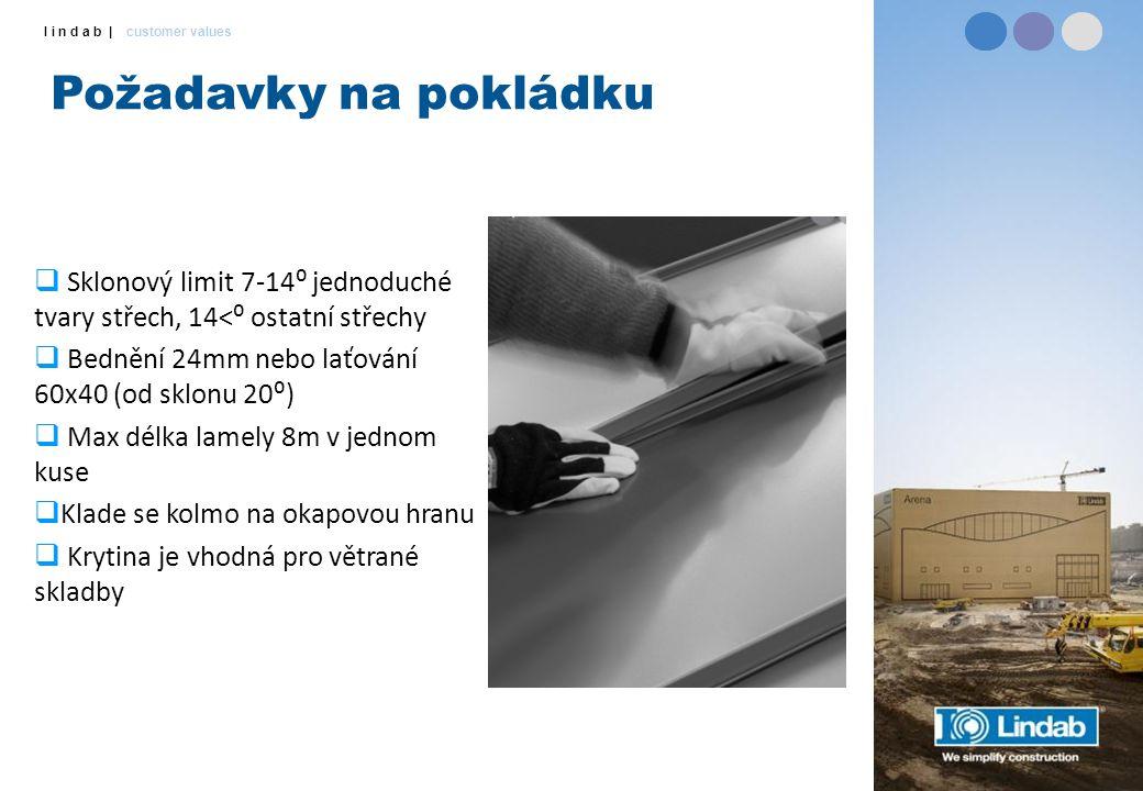 Požadavky na pokládku Sklonový limit 7-14⁰ jednoduché tvary střech, 14<⁰ ostatní střechy. Bednění 24mm nebo laťování 60x40 (od sklonu 20⁰)