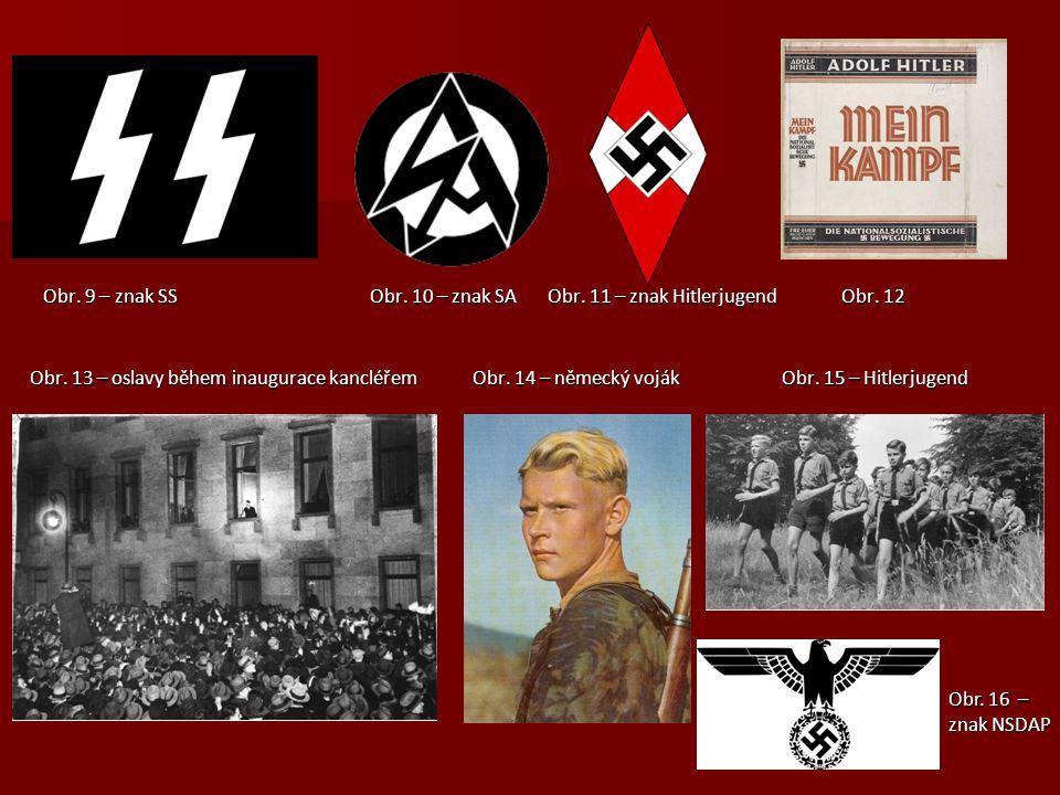 Obr. 9 – znak SS Obr. 10 – znak SA Obr. 11 – znak Hitlerjugend Obr. 12