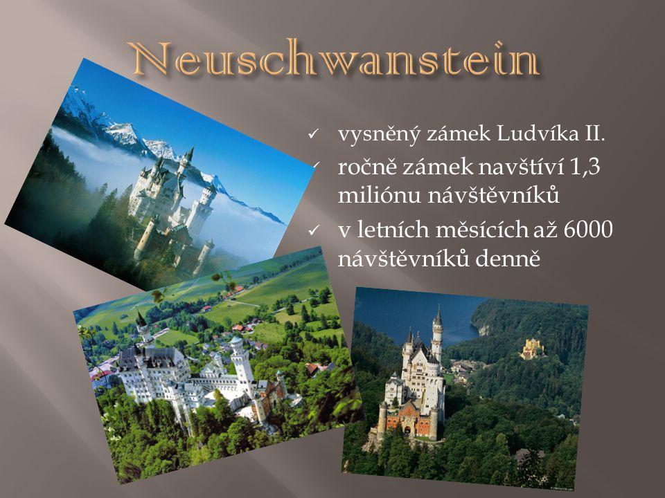 Neuschwanstein ročně zámek navštíví 1,3 miliónu návštěvníků