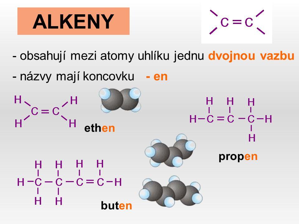 ALKENY obsahují mezi atomy uhlíku jednu dvojnou vazbu