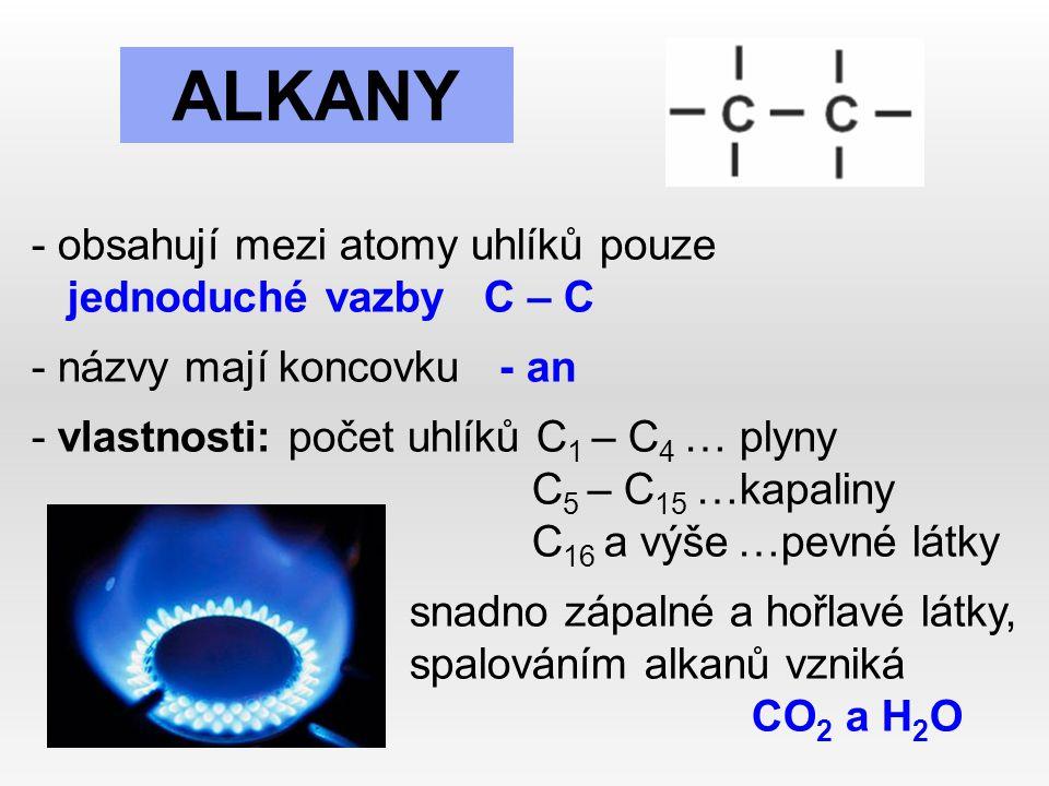 ALKANY - obsahují mezi atomy uhlíků pouze jednoduché vazby C – C