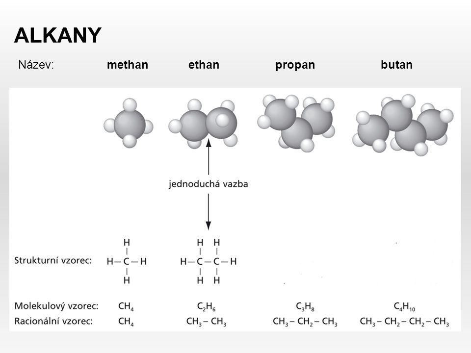 ALKANY Název: methan ethan propan butan.