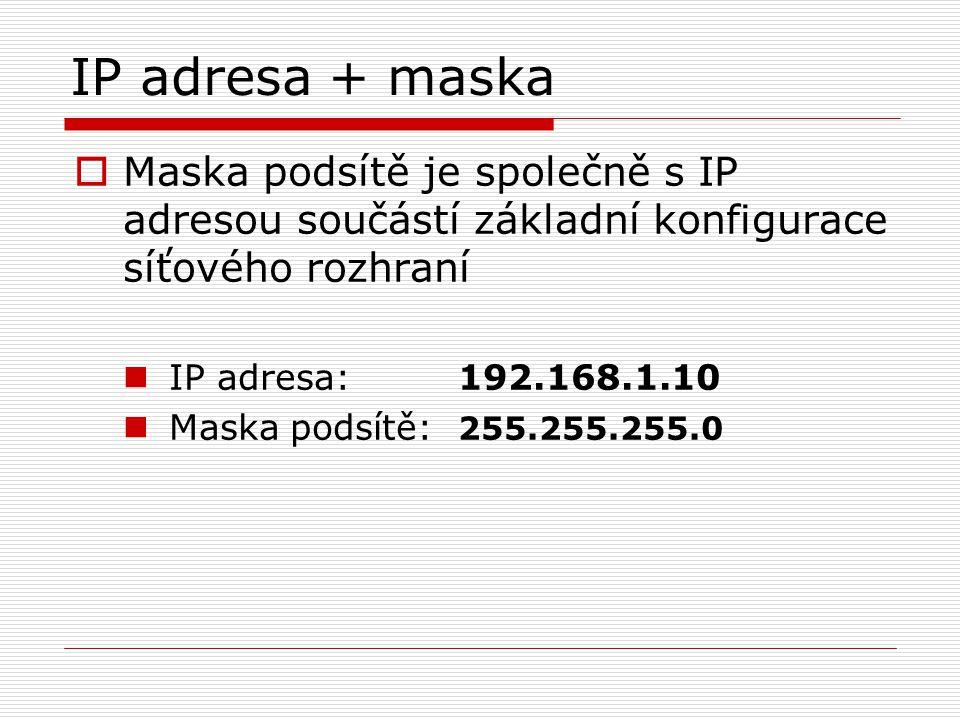 IP adresa + maska Maska podsítě je společně s IP adresou součástí základní konfigurace síťového rozhraní.
