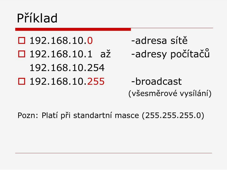 Příklad 192.168.10.0 -adresa sítě 192.168.10.1 až -adresy počítačů