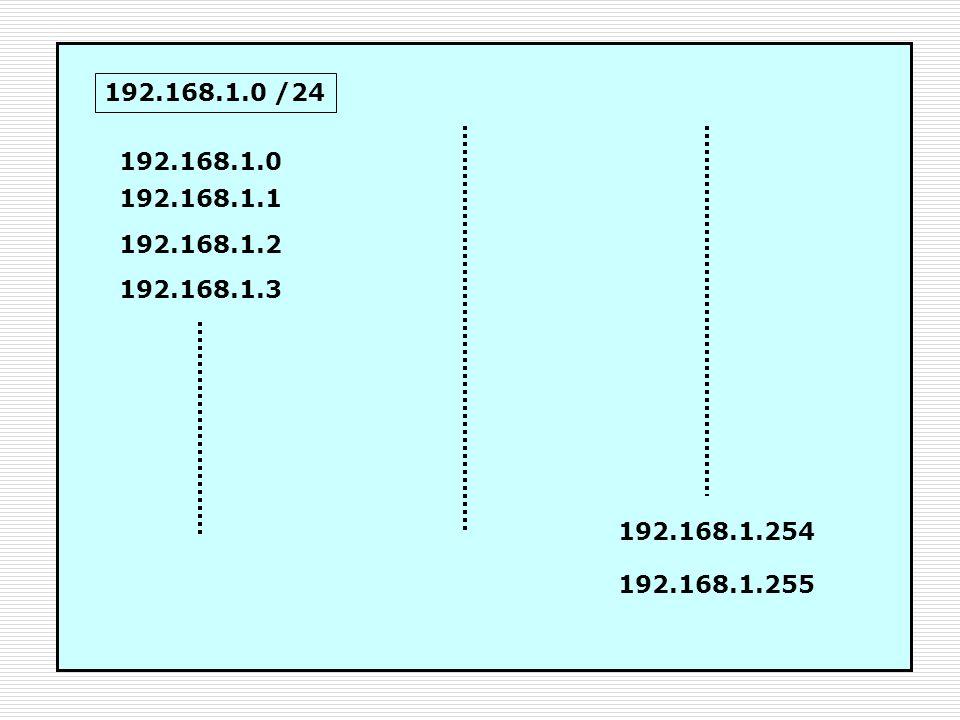 192.168.1.0 /24 192.168.1.0 192.168.1.1 192.168.1.2 192.168.1.3 192.168.1.254 192.168.1.255