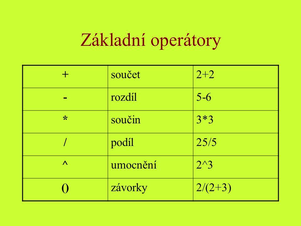 Základní operátory + součet 2+2 - rozdíl 5-6 * součin 3*3 / podíl 25/5