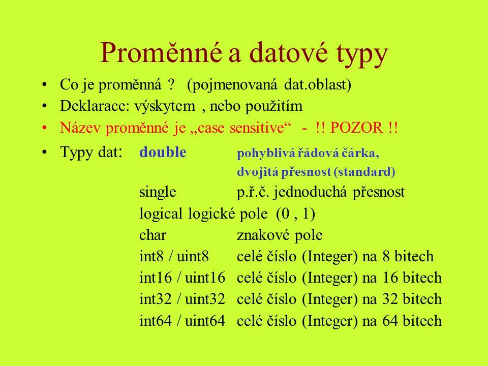 Proměnné a datové typy Co je proměnná (pojmenovaná dat.oblast)