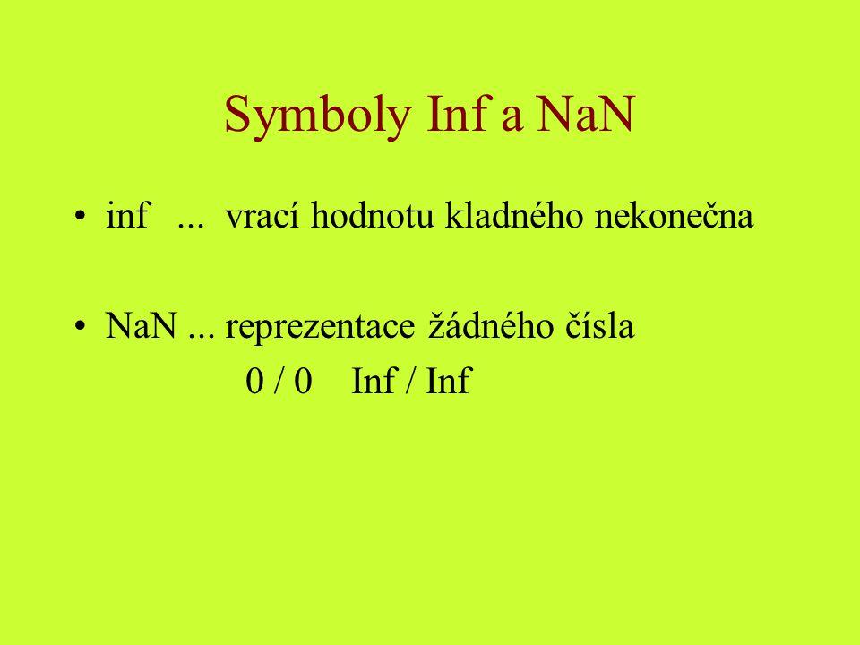 Symboly Inf a NaN inf ... vrací hodnotu kladného nekonečna
