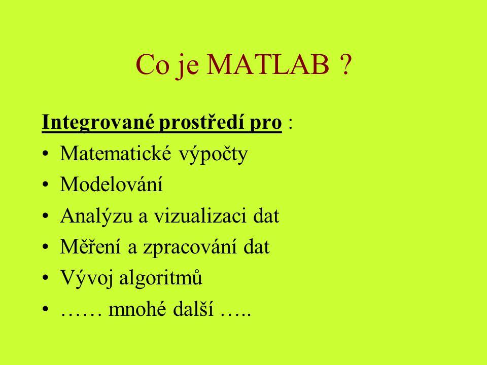 Co je MATLAB Integrované prostředí pro : Matematické výpočty