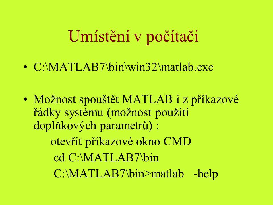 Umístění v počítači C:\MATLAB7\bin\win32\matlab.exe