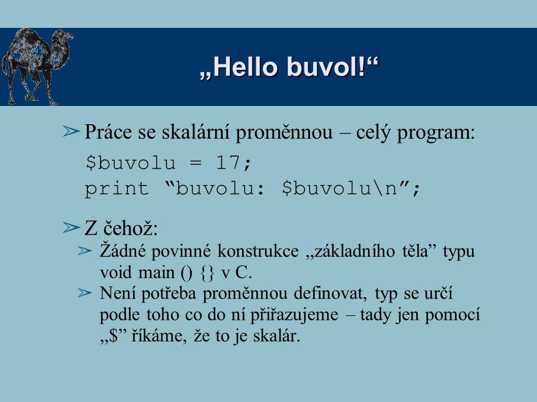 """""""Hello buvol! Práce se skalární proměnnou – celý program:"""