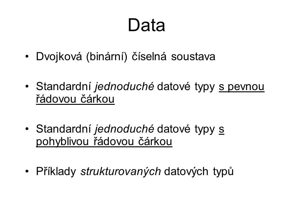 Data Dvojková (binární) číselná soustava