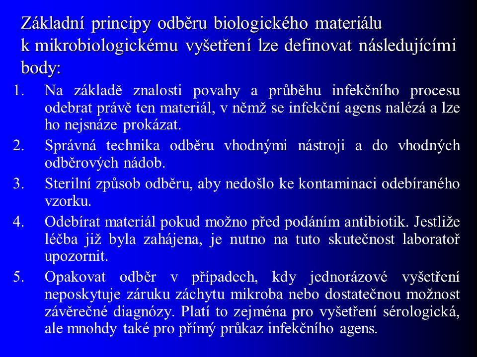 Základní principy odběru biologického materiálu k mikrobiologickému vyšetření lze definovat následujícími body: